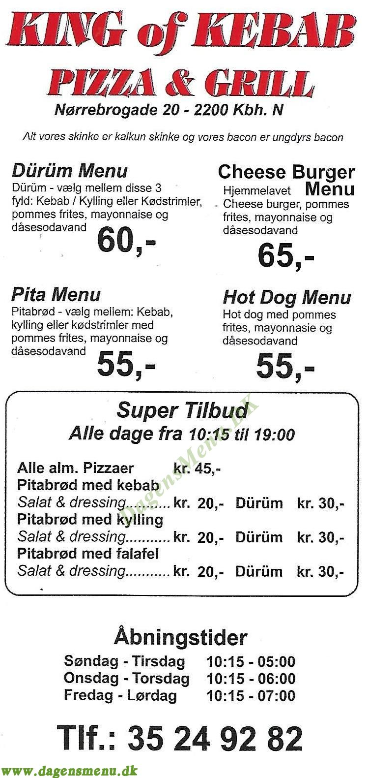 King Of Kebab Pizza & Grill - Menukort