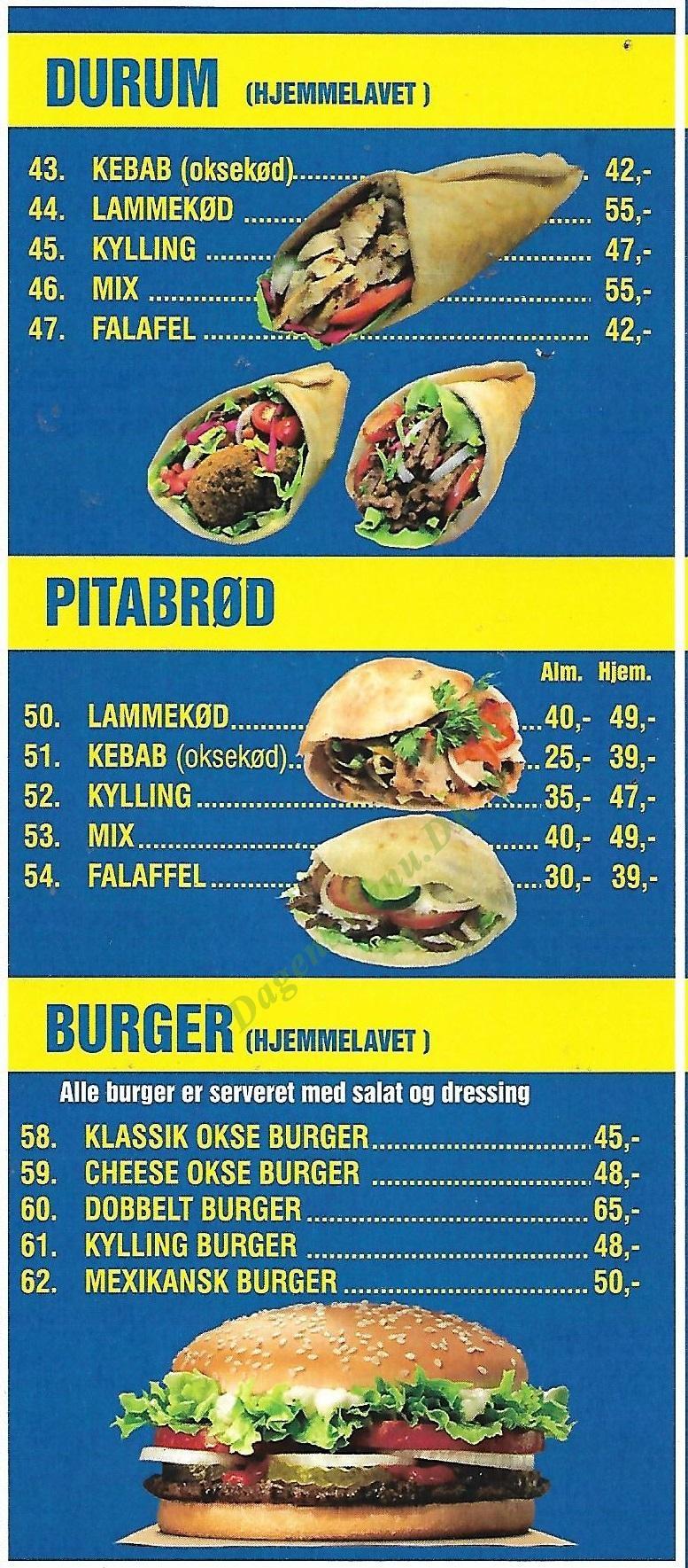 Kebabistan - Menukort