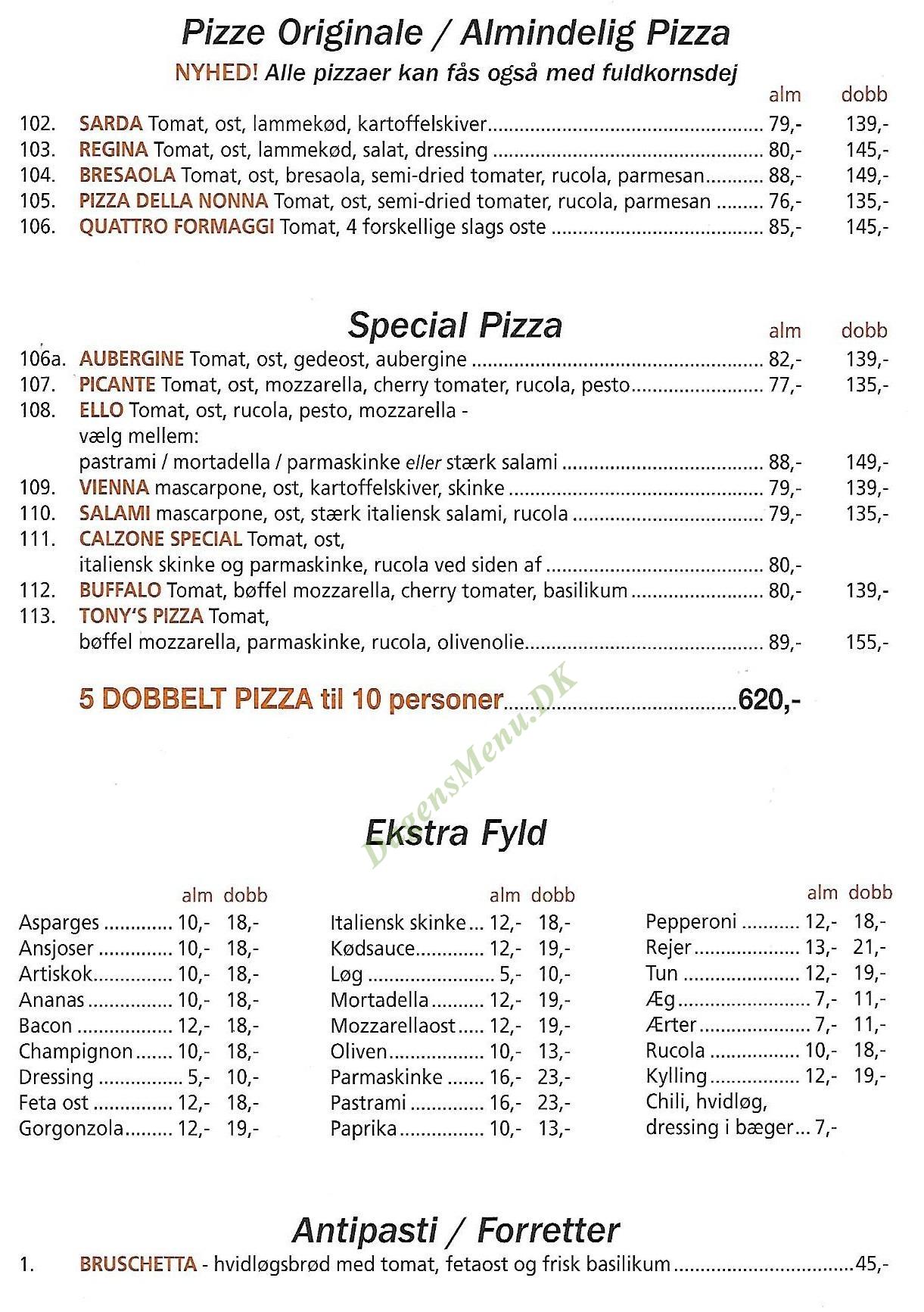 Pizzaria Ciao Ciao - Menukort