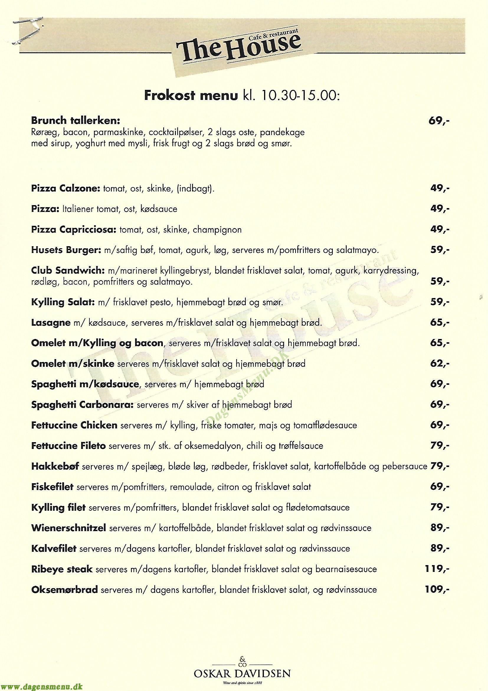 THE HOUSE CAFE & RESTAURANT - Menukort