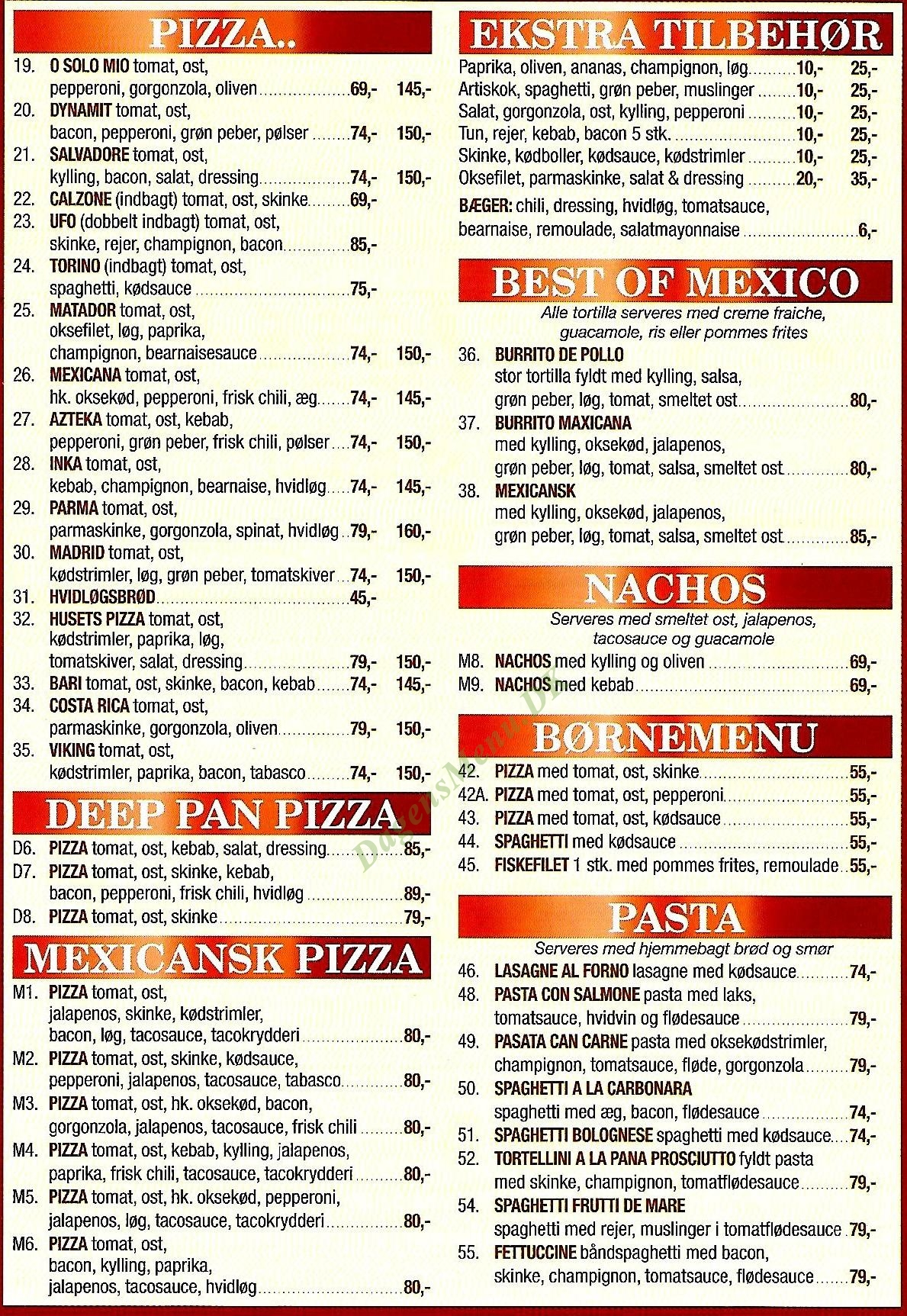 TORVETS PIZZA & KEBAB - Menukort