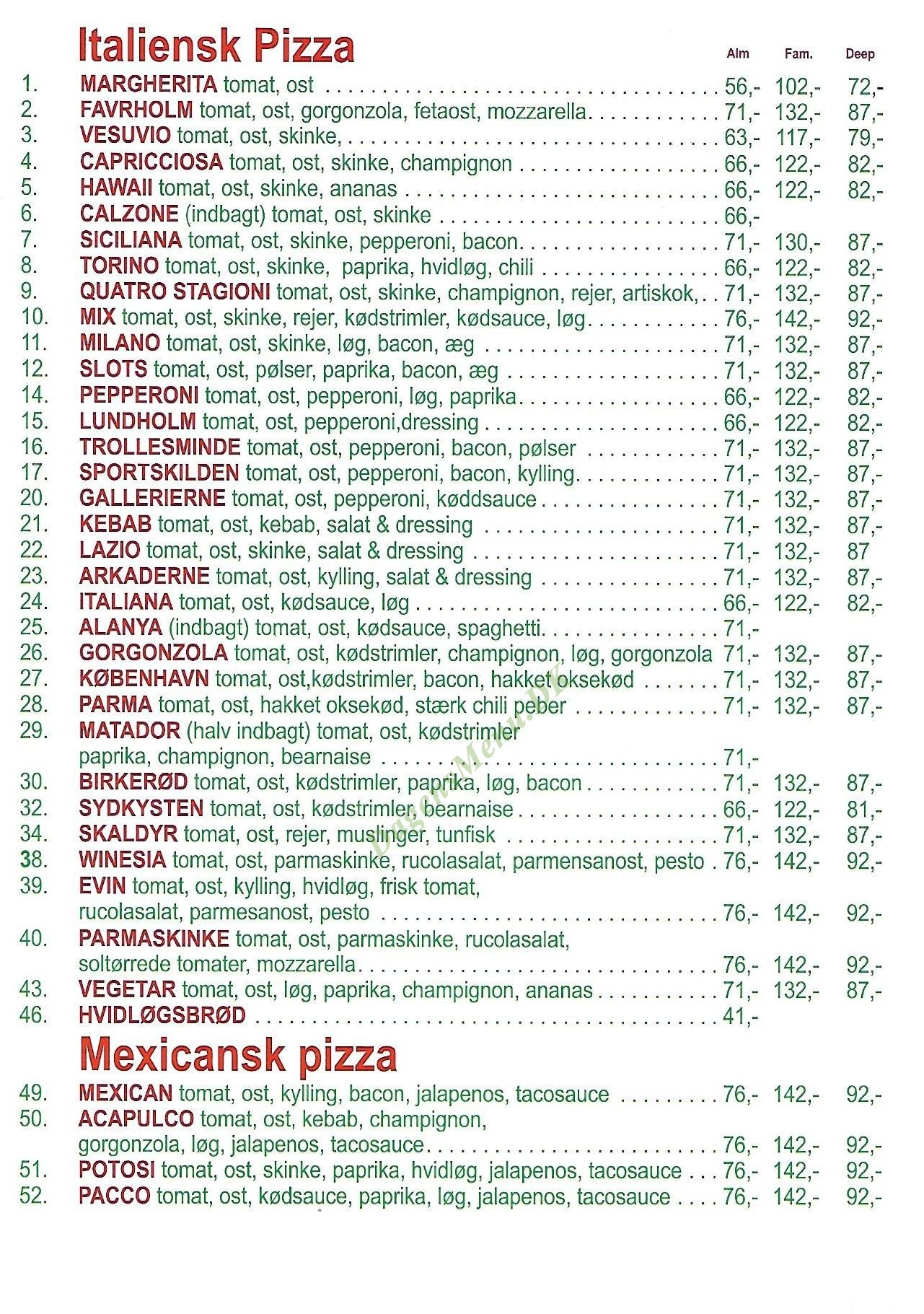 SLOTS PIZZA - Menukort