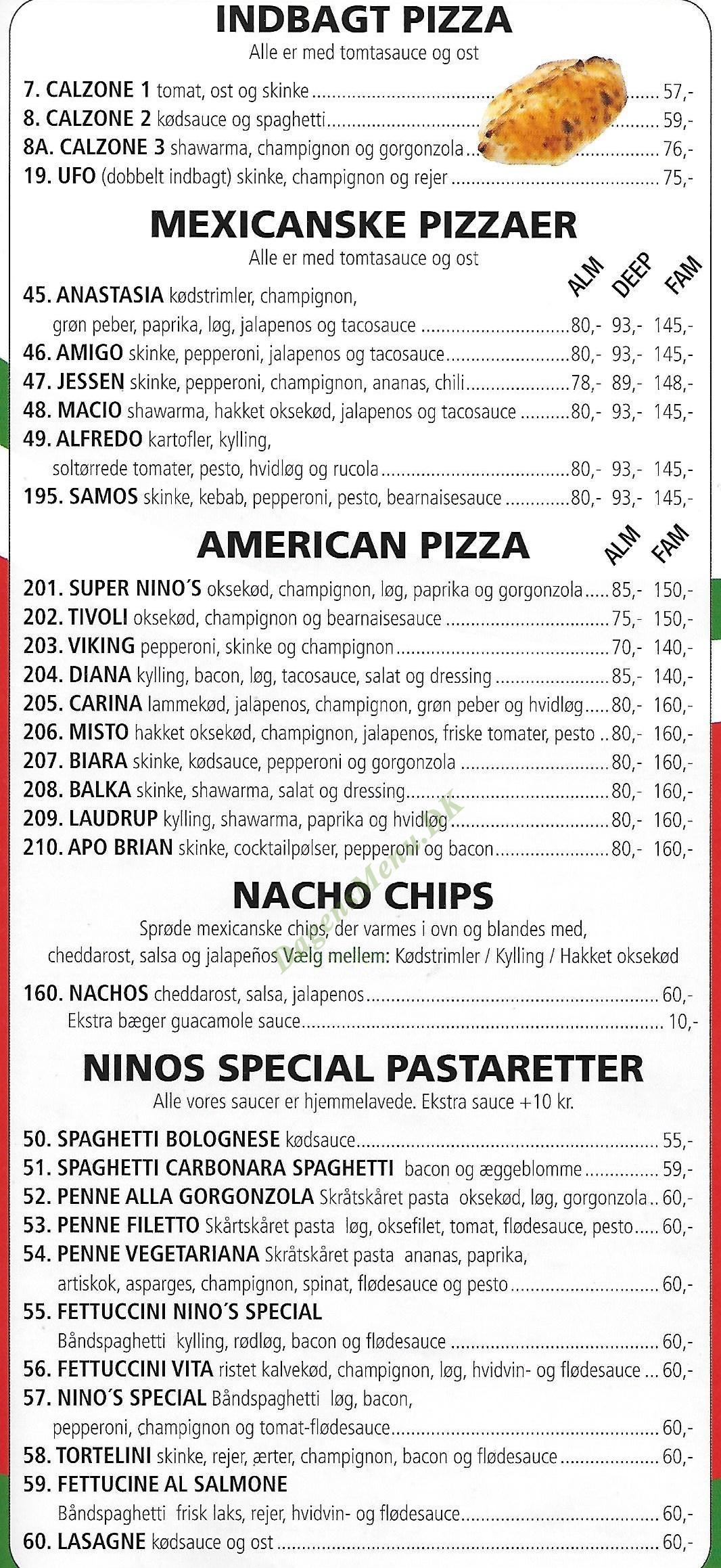 Ninos Pizza - Menukort