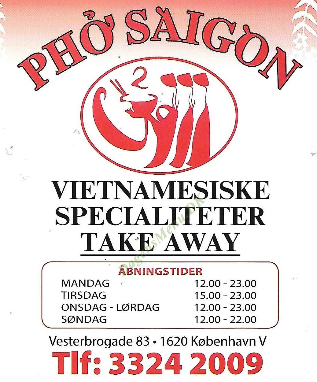 Pho Saigon - Menukort