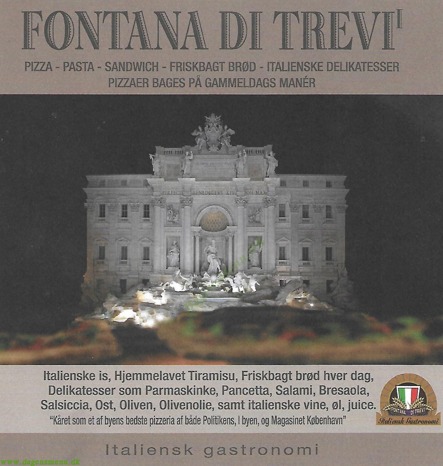 Fontana Di Trevi - Menukort