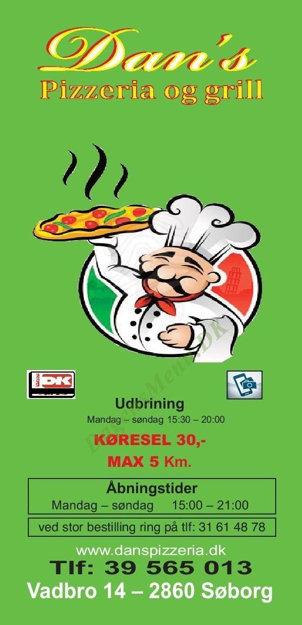 Dan's pizzeria - Menukort