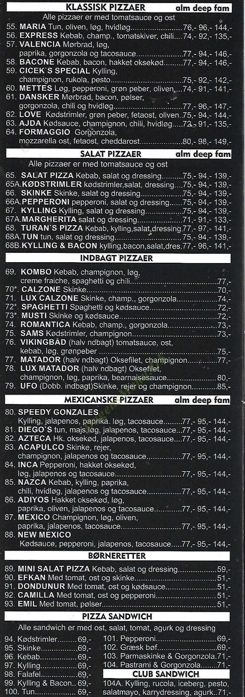 Pizza Day & Night - Menukort