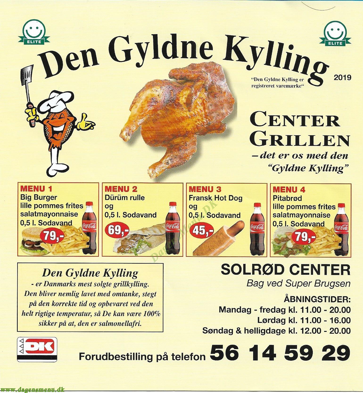 DEN GYLDNE KYLLING - Menukort