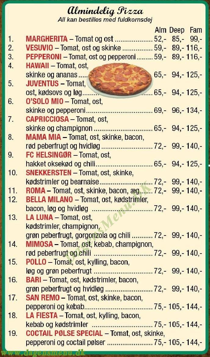 OMO´S PIZZA & GRILL - Menukort