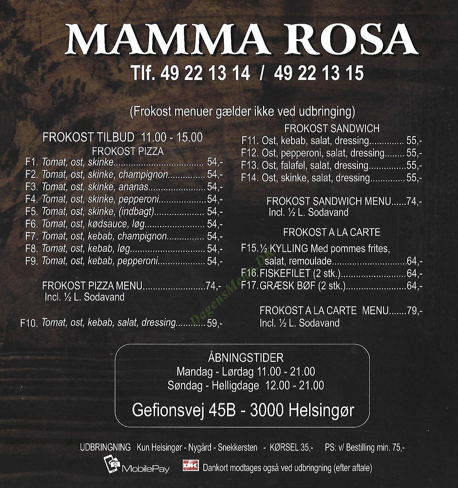 Mamma Rosa - Menukort