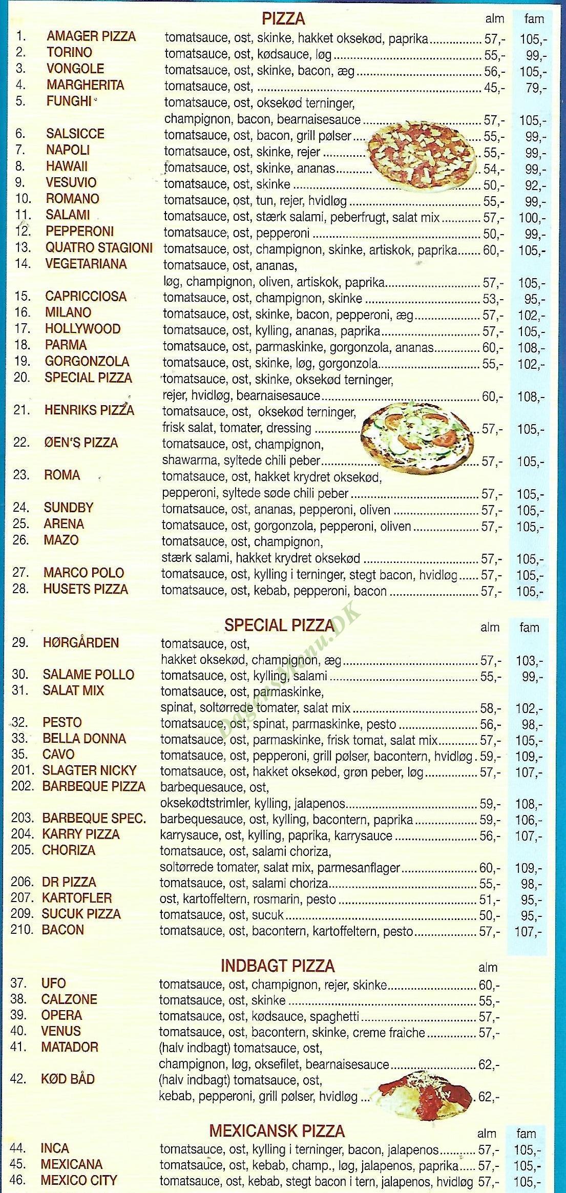 Øen Amagers Pizzaria Og Burgerbar - Menukort
