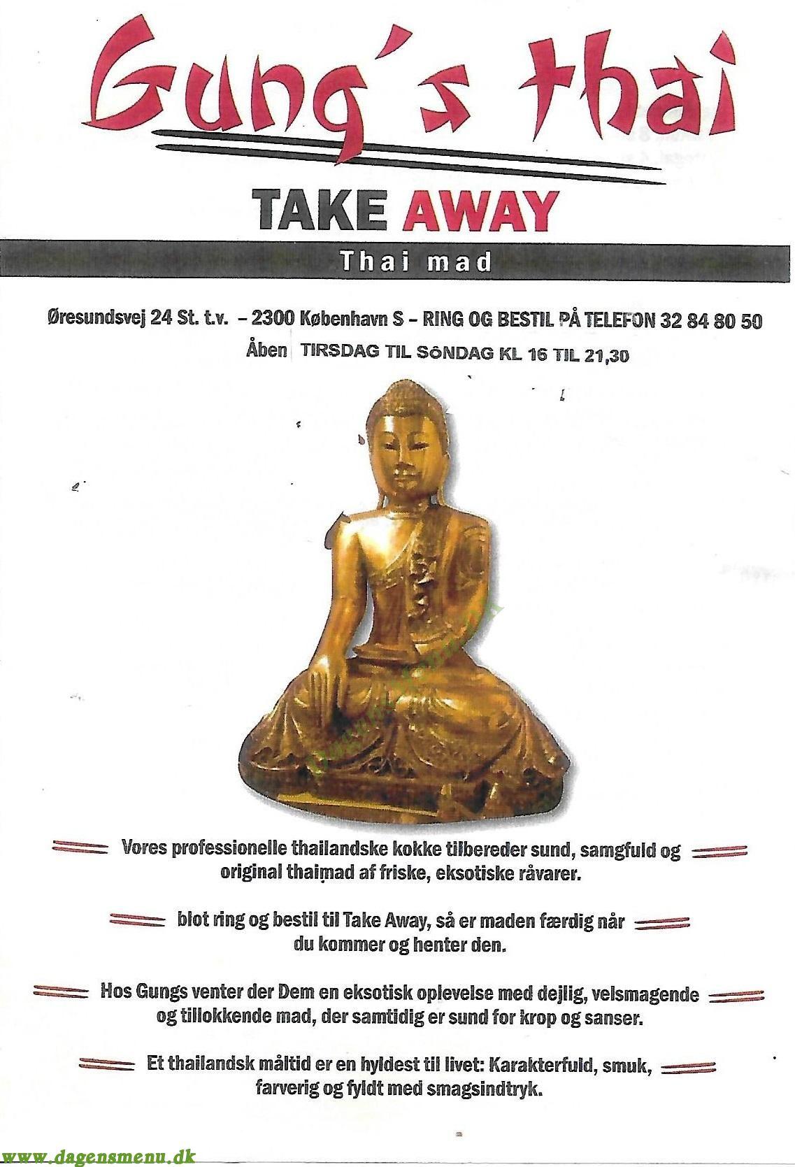 Gung's Thai Take Away - Menukort