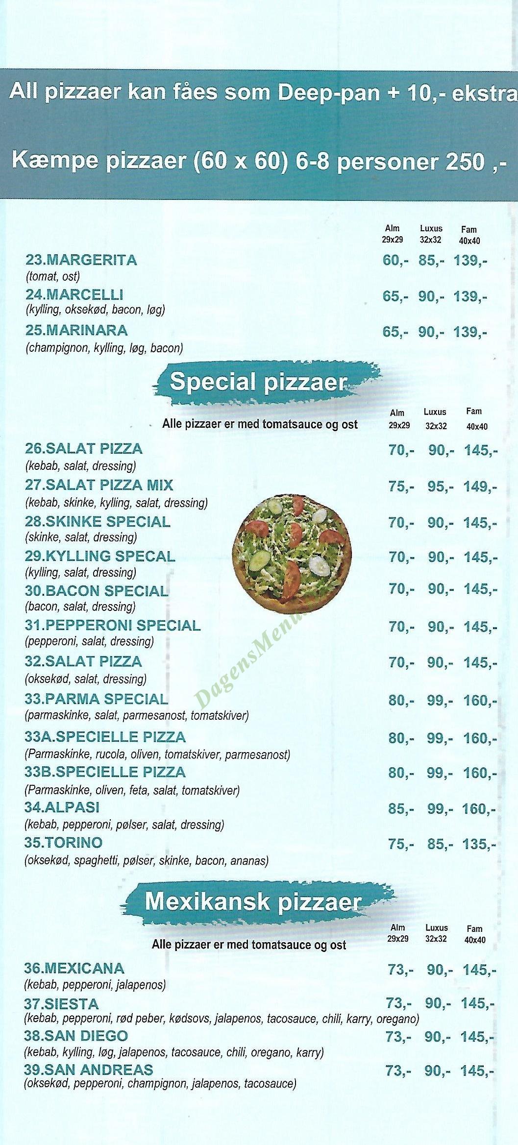 Pizza Palermo - Menukort