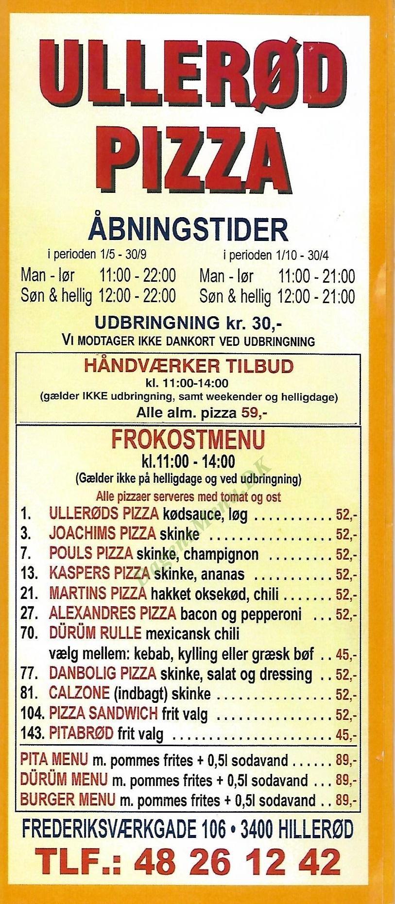Ullerød Pizza - Menukort