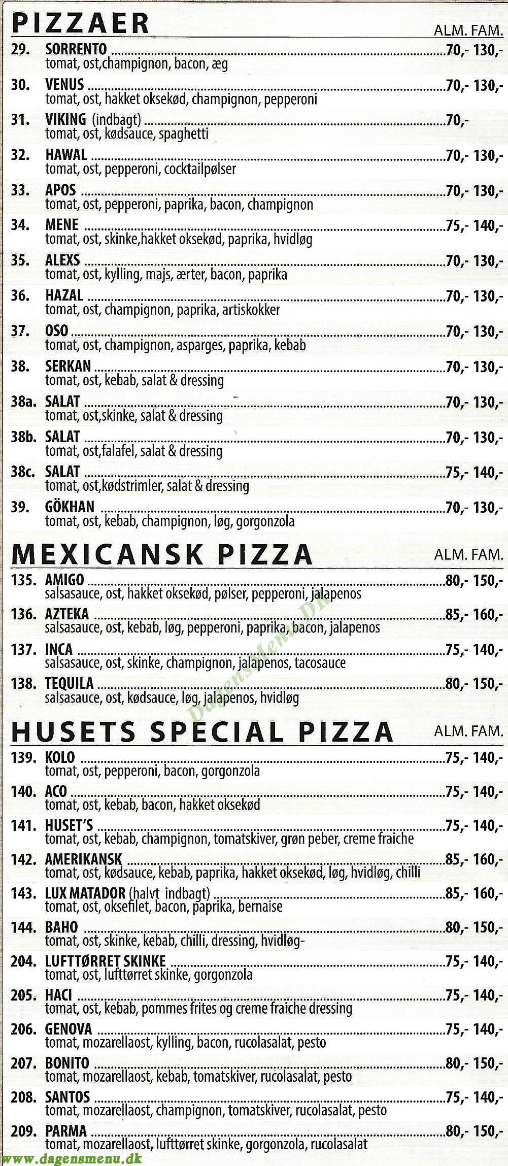 Bergamo Pizza - Menukort