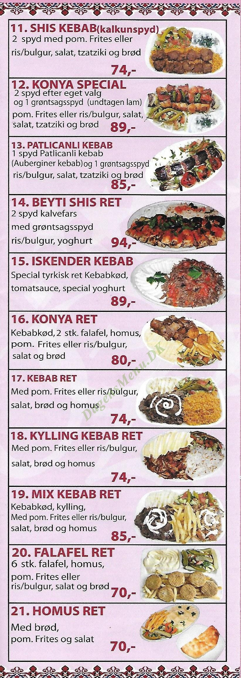 Öz Konya Kebab - Menukort