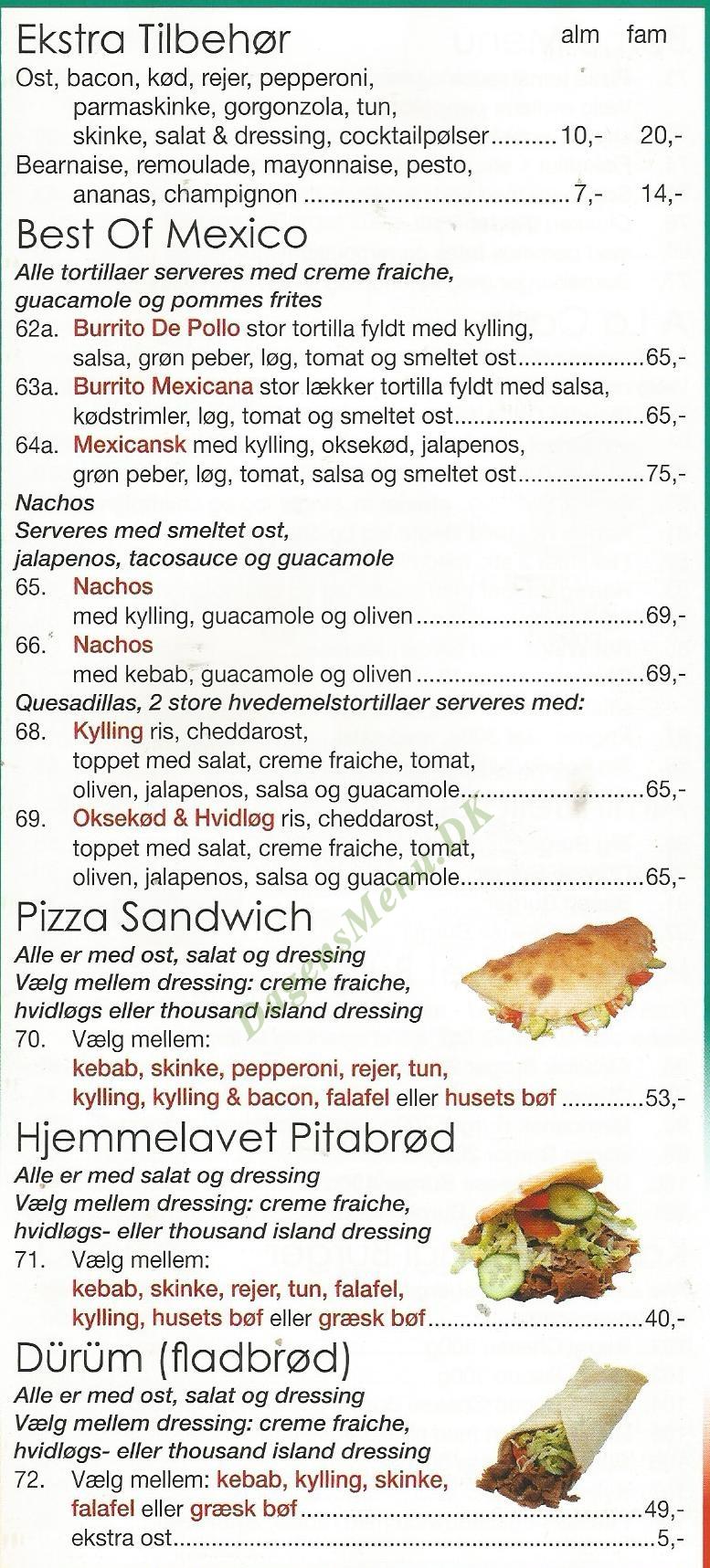 Latini Pizza - Menukort