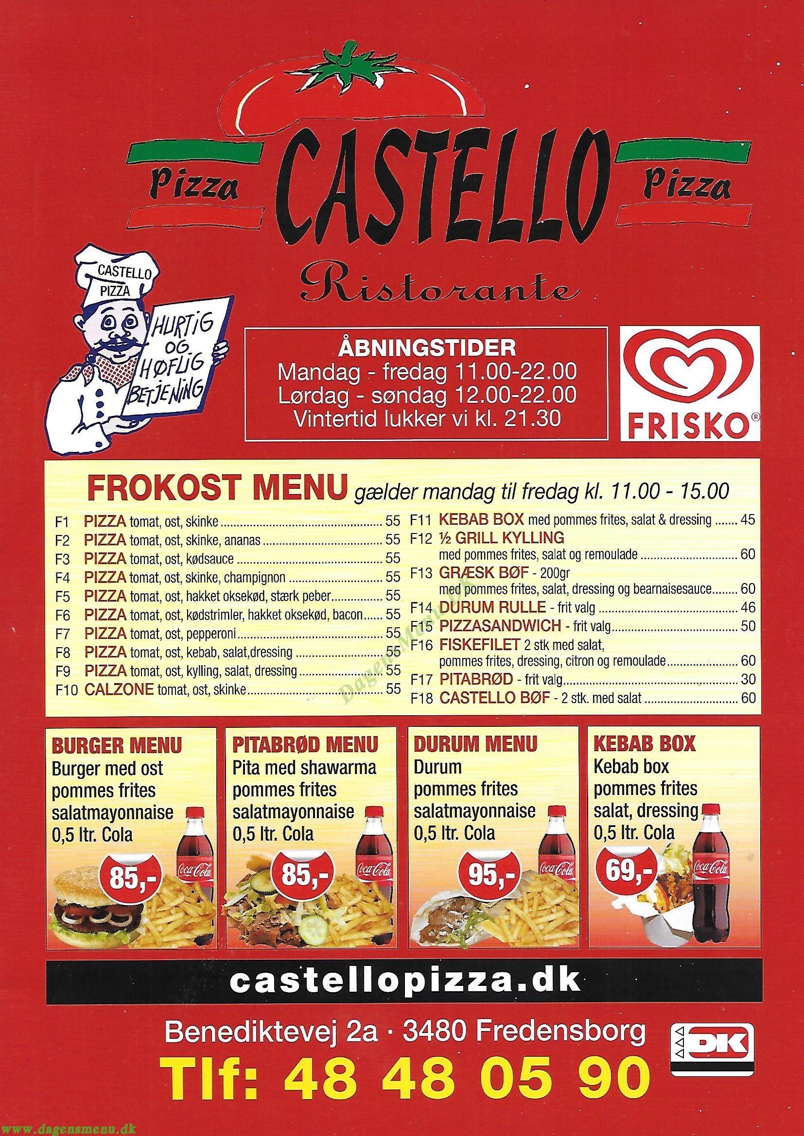 Castello Pizza - Menukort