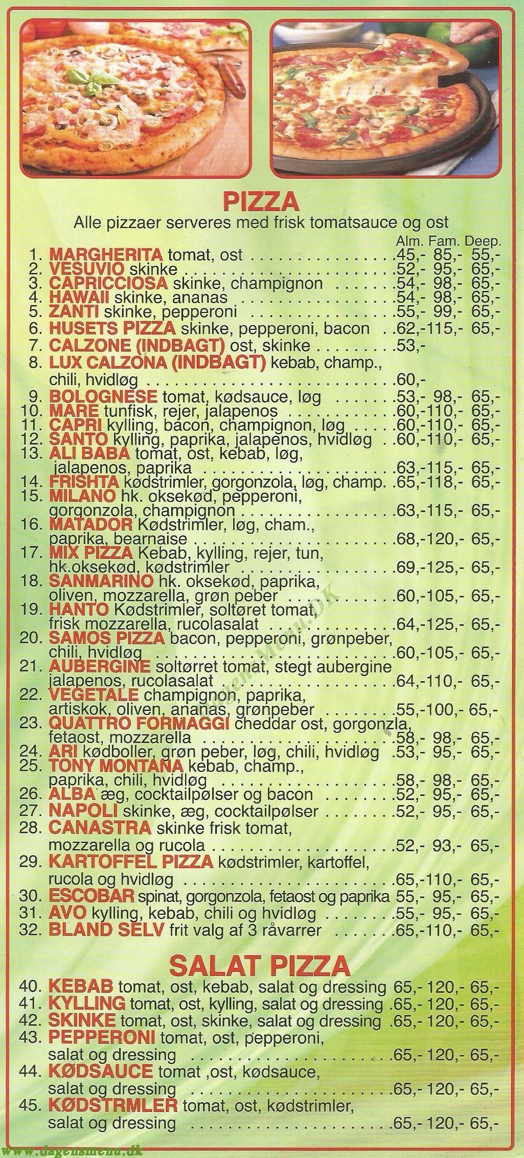 Milano Pizza - Menukort