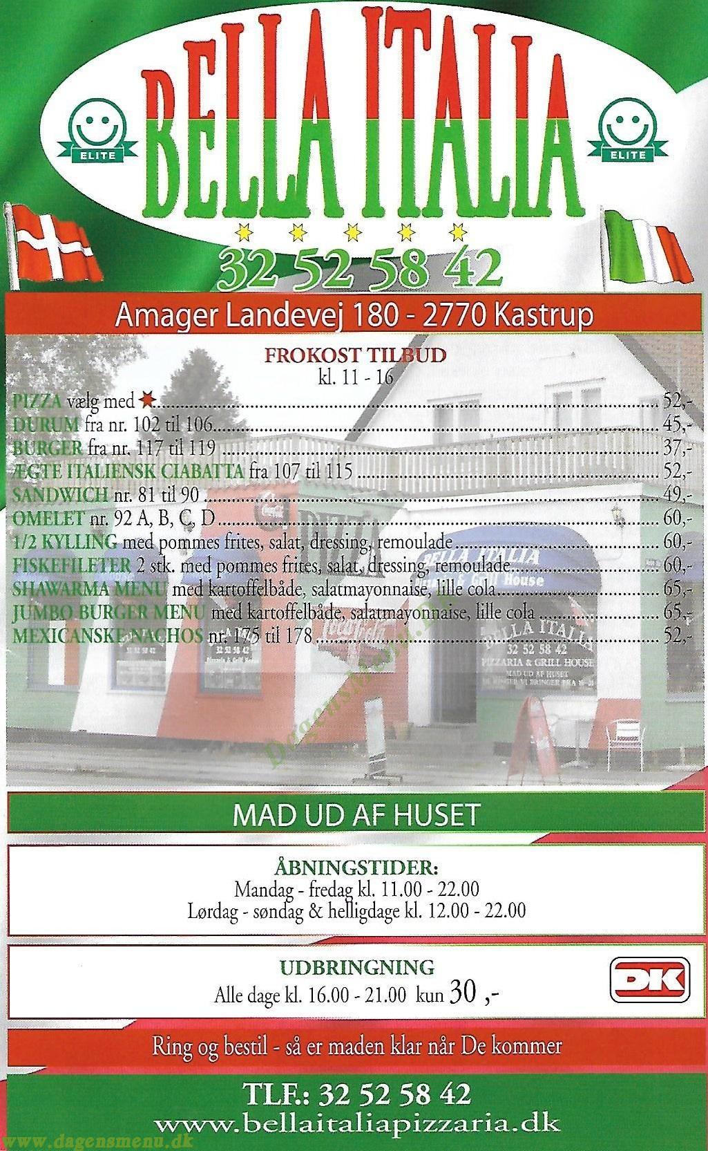 Bella Italia - Menukort