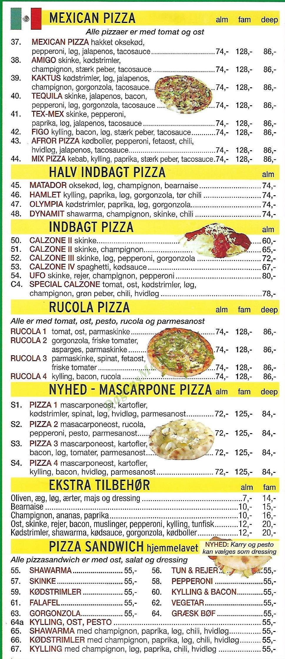 Milas Pizza - Menukort