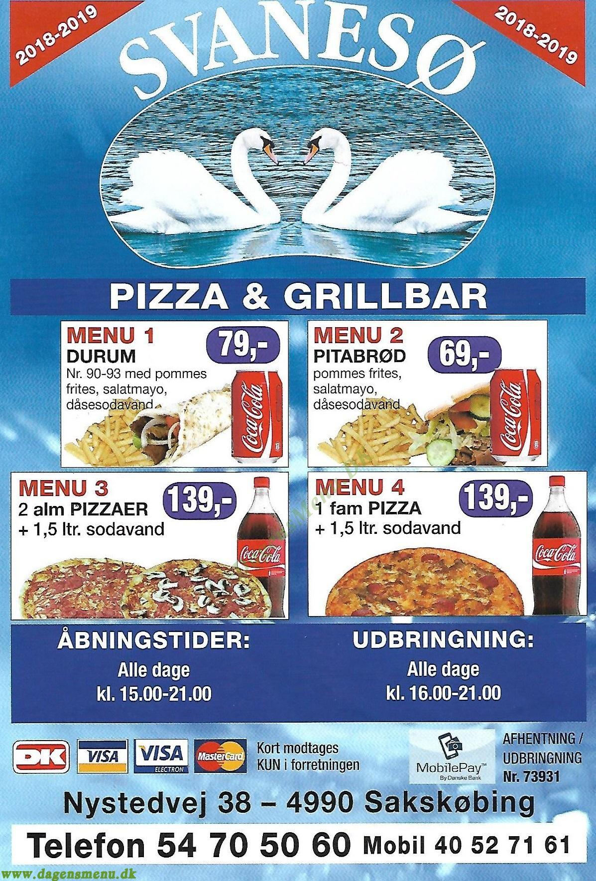Svanesø Pizza & Grillbar - Menukort