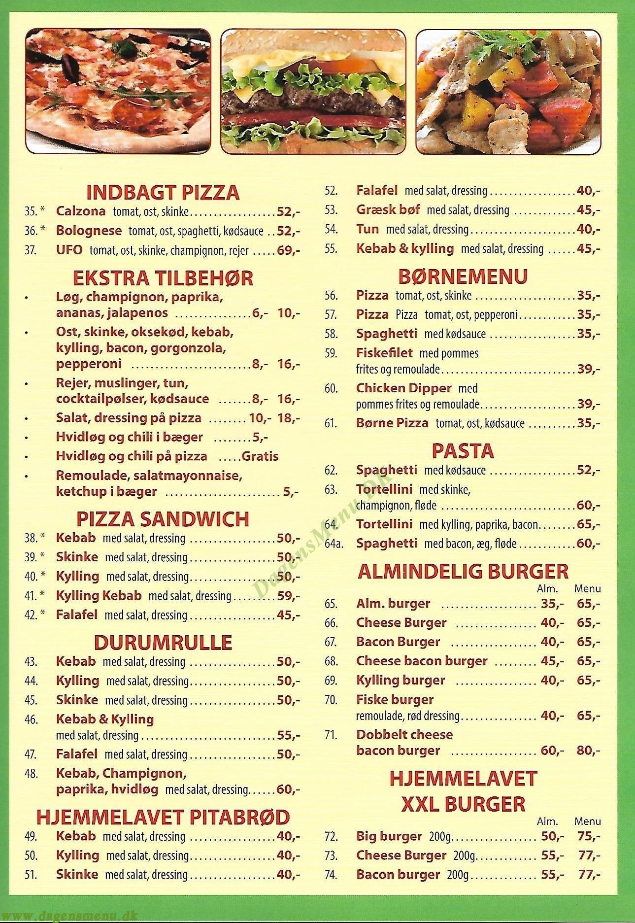 Al Pacino Pizza - Menukort