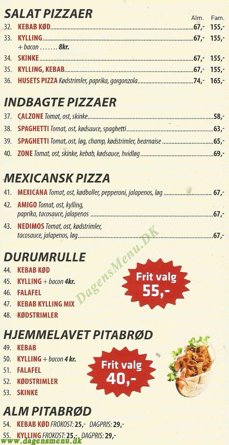 Napoli Pizza - Menukort