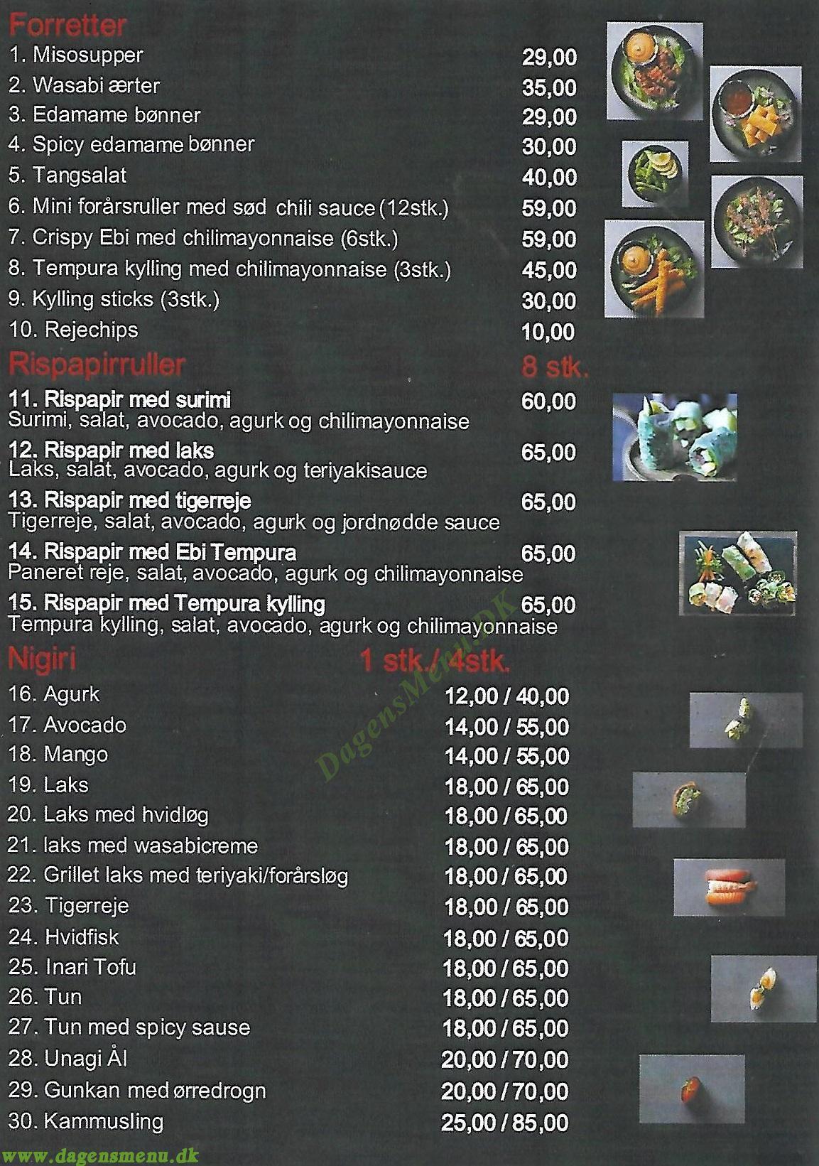 I Sushi Amager - Menukort
