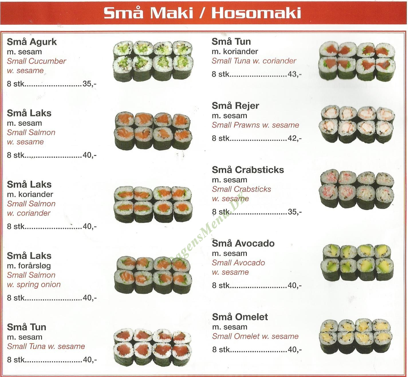 Restaurant Sushi Nørregade - Menukort