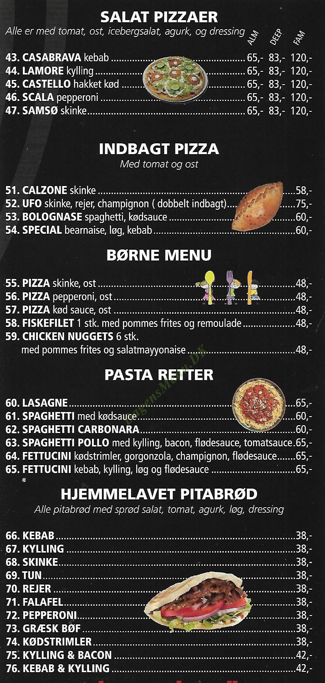 Hugos pizza Amager - Menukort