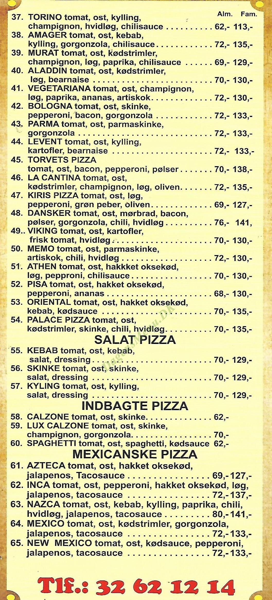 Amager Pizza Palace - Menukort