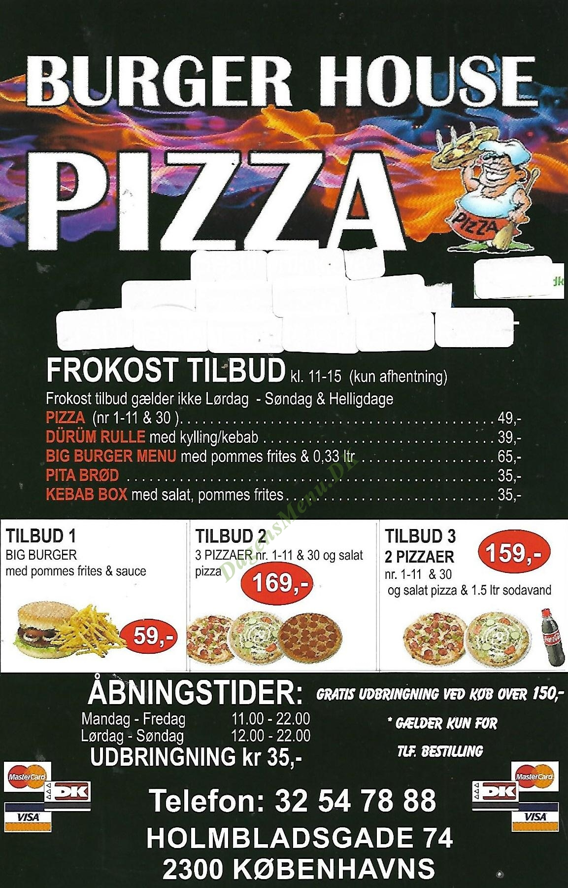 Burger House Pizza - Menukort