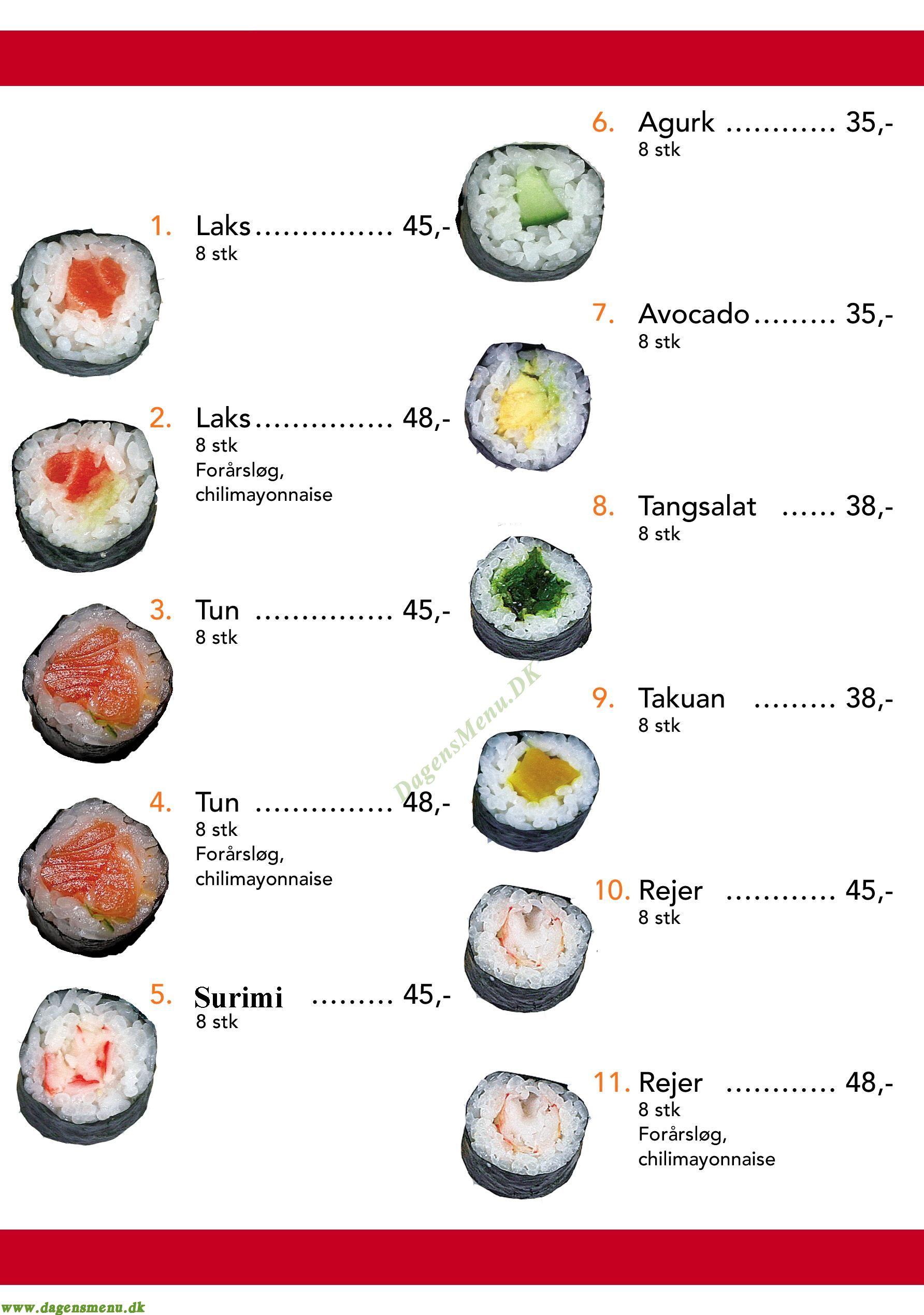 Yaya Sushi - Menukort