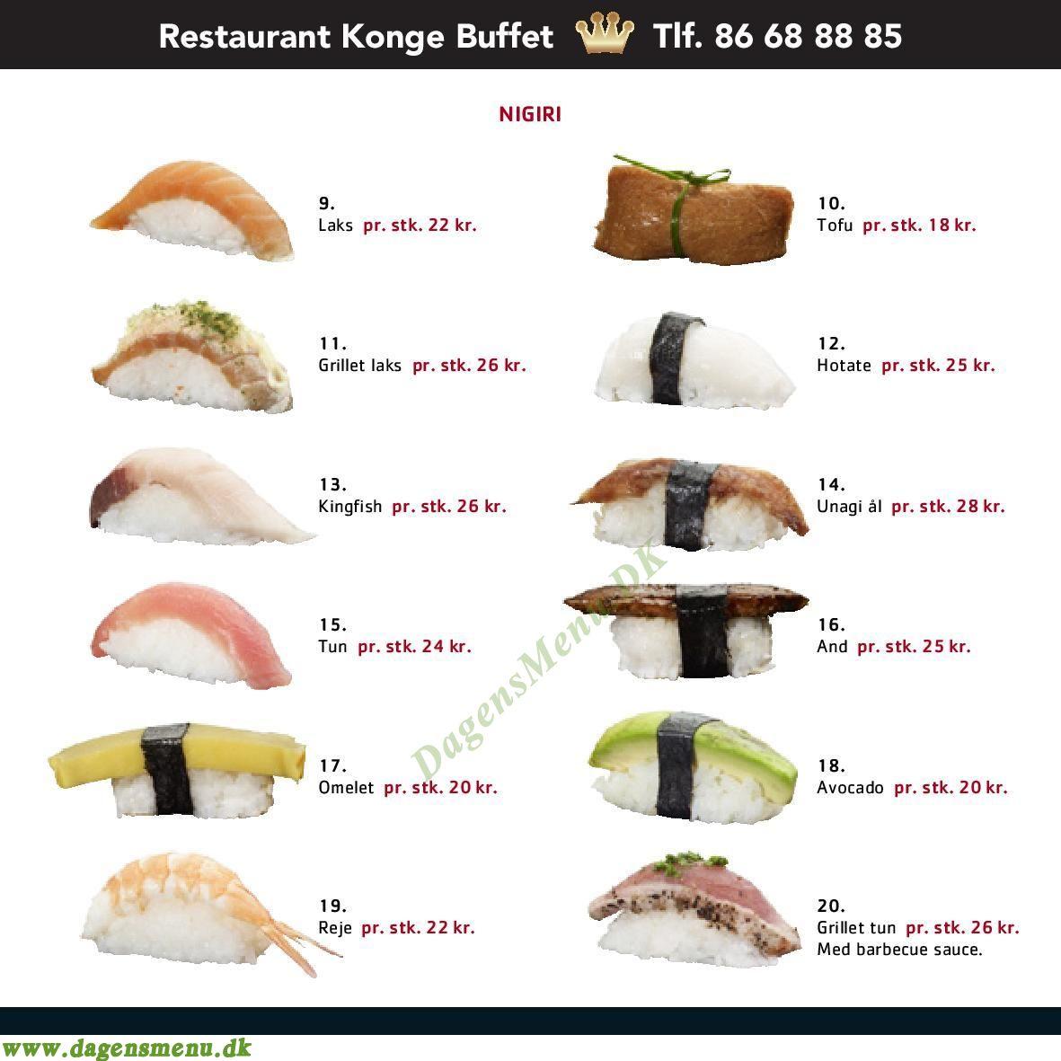 Konge Buffet - Menukort