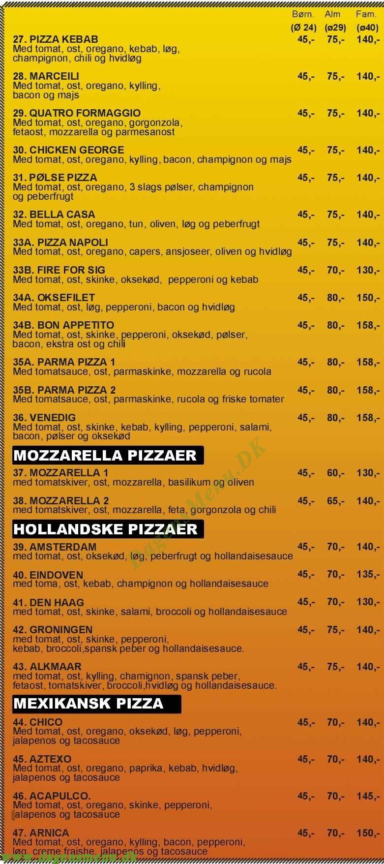 Menu Pizza Kruså - Menukort