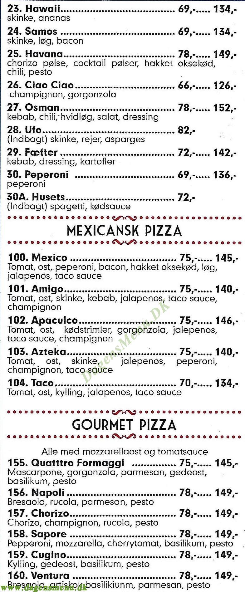 Chicago Pizza - Menukort