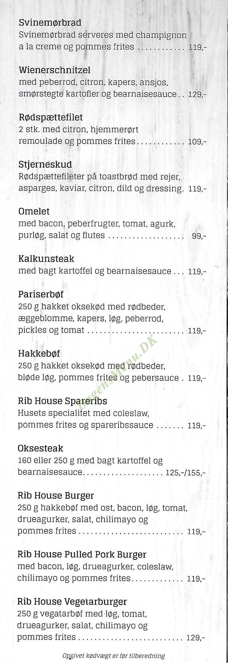 Restaurant Ribhouse - Menukort