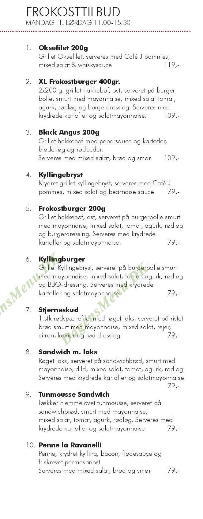 Cafe J - Menukort
