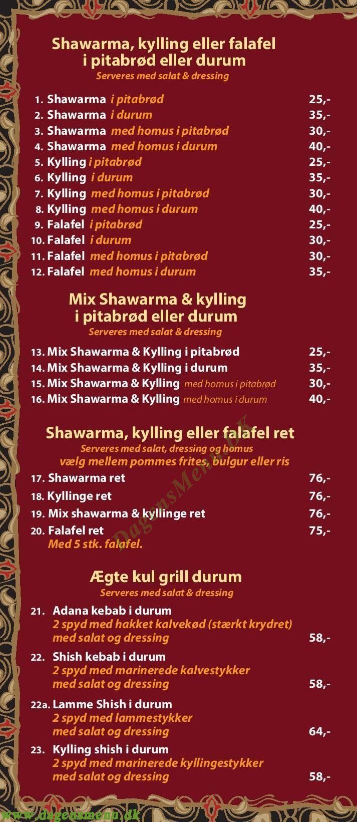 Kösk Kebab - Menukort