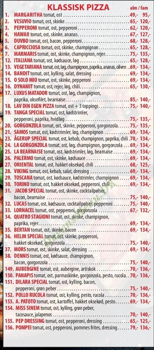 Ågerup Pizza Burger House - Menukort