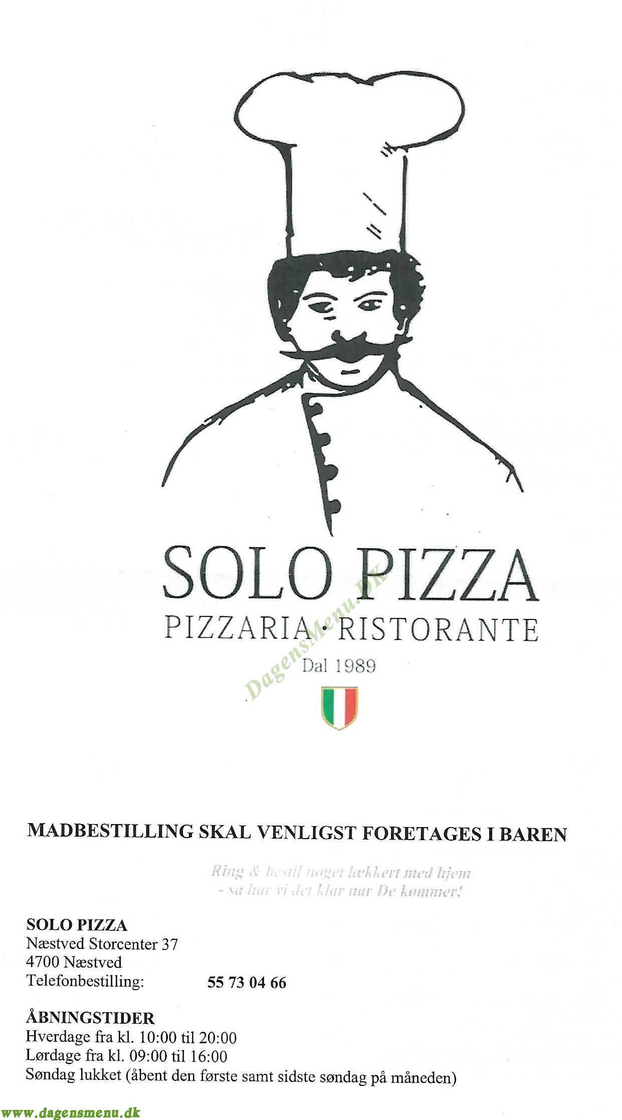 Solo Pizza - Menukort