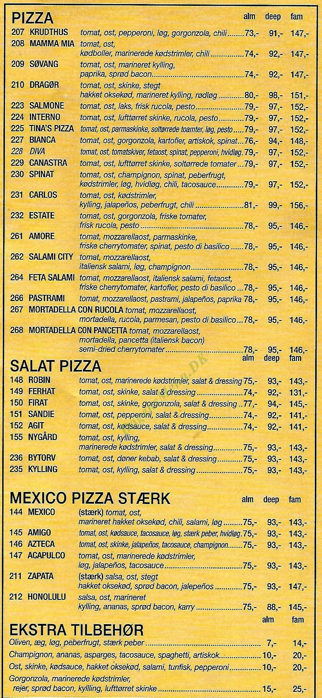 Pizza Burger House - Menukort