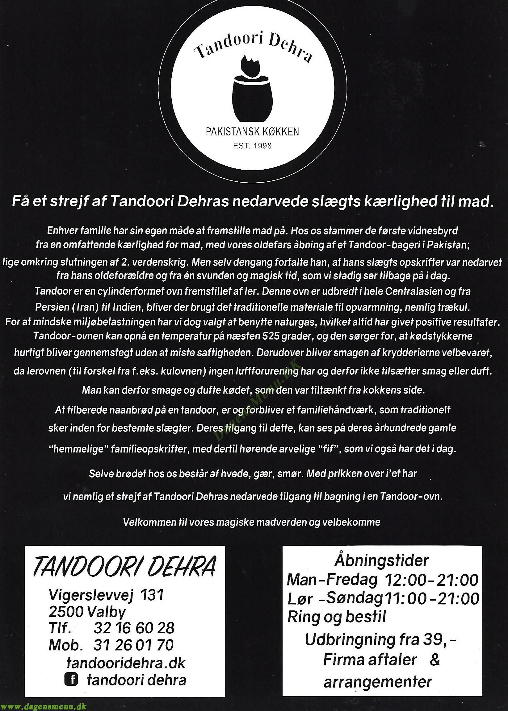Tandoori Dehra - Menukort