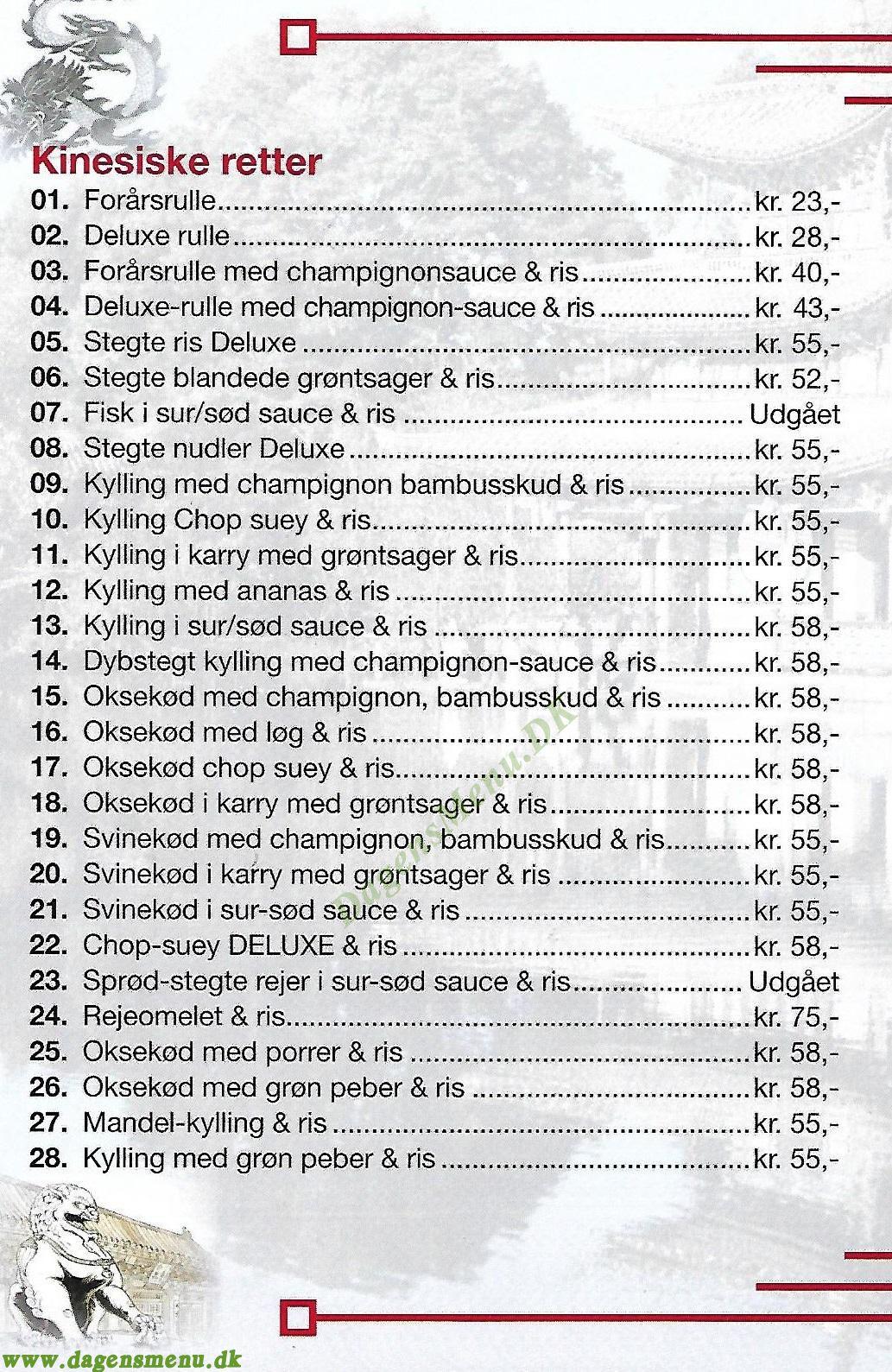 Kinesisk Grill - Menukort