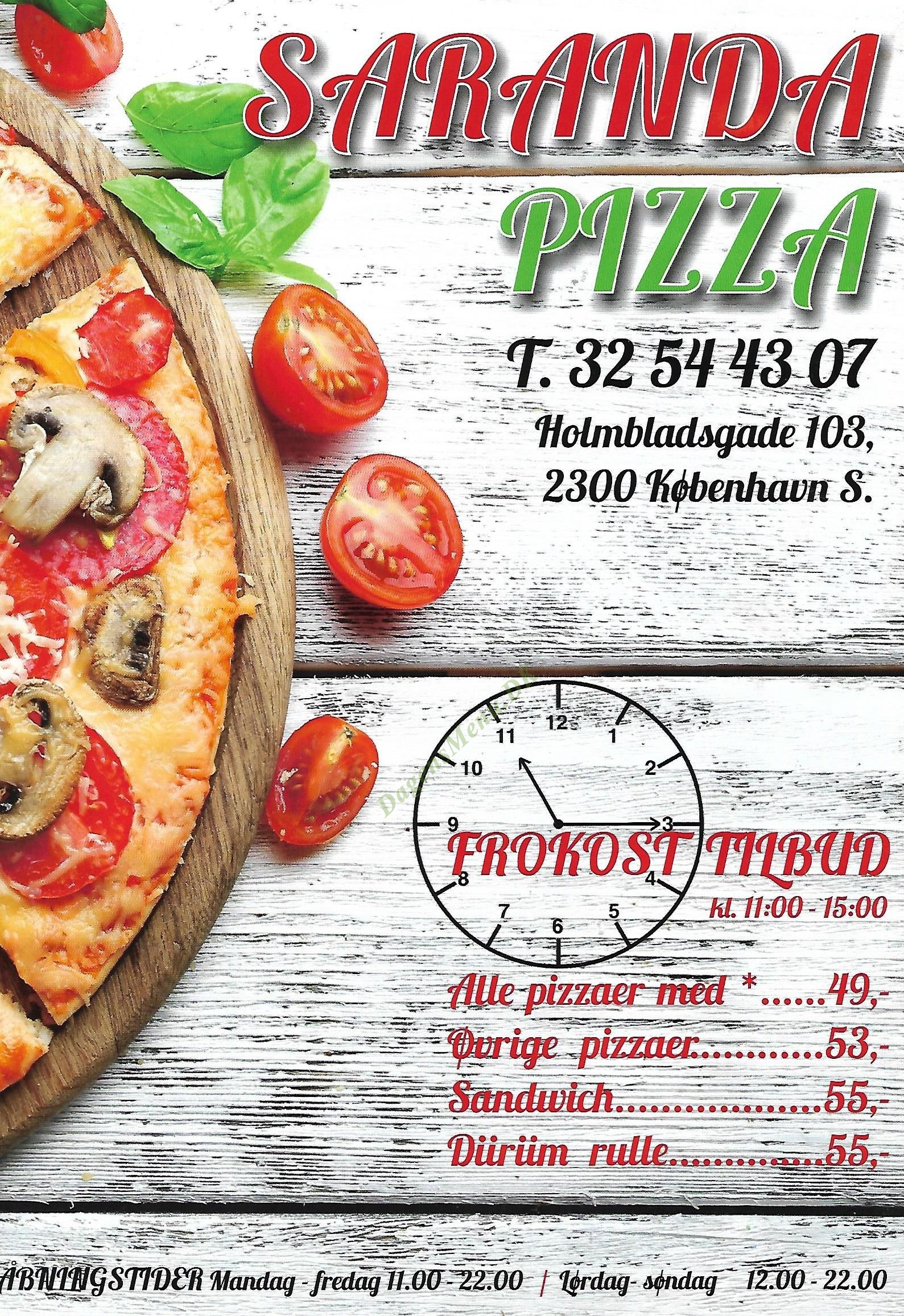 Saranda Pizzaria - Menukort