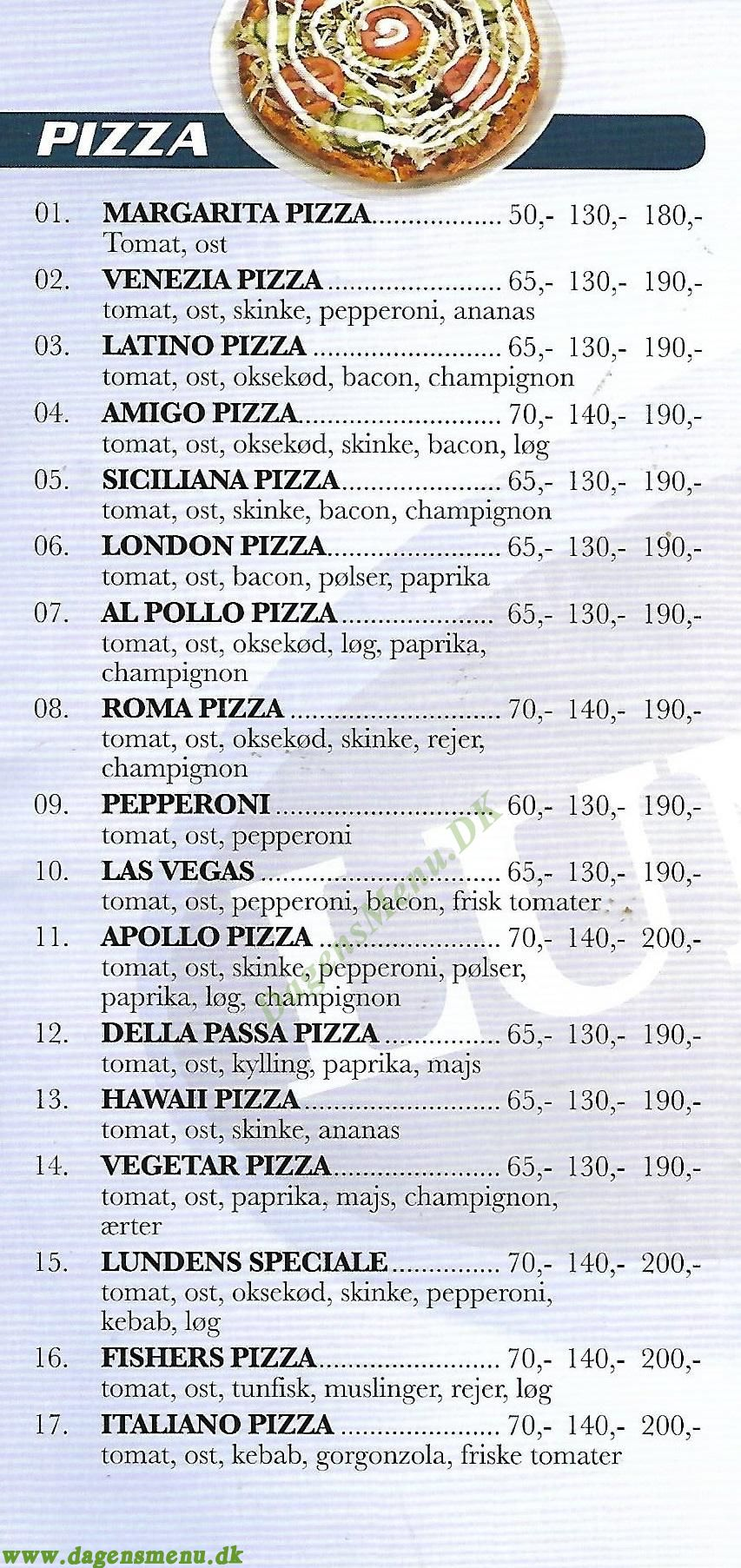 Lundens Pizza - Menukort