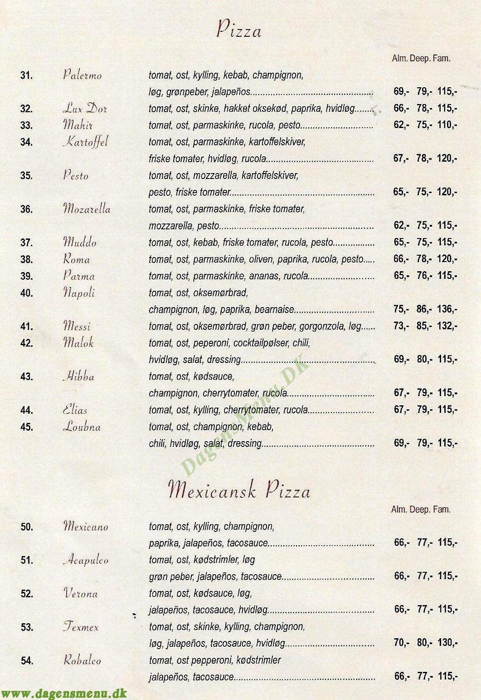 Amore Pizzeria & Grillhouse - Menukort