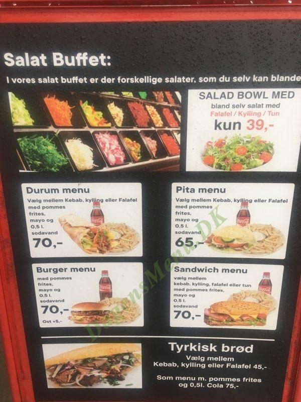 Corner Sandwich og Kebab - Menukort