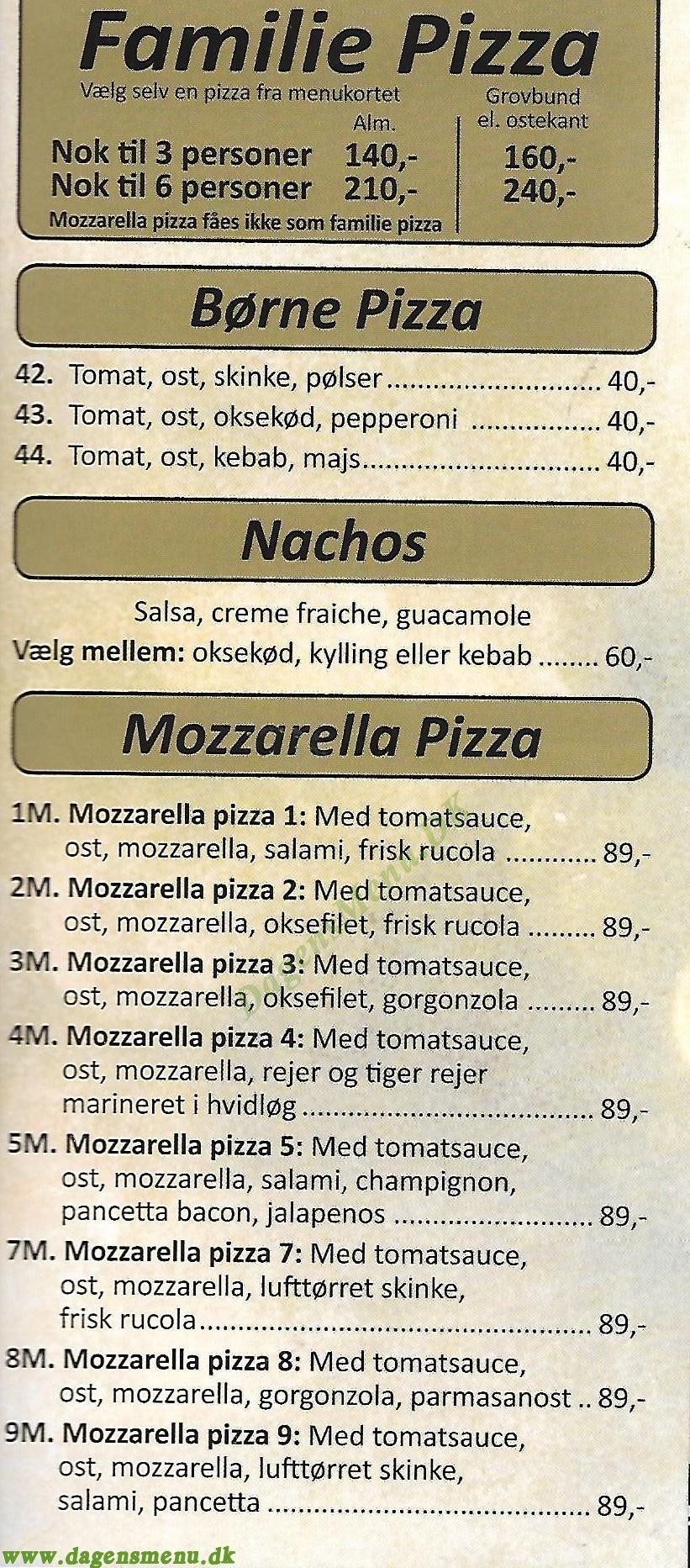 PIZZA BAGERIET - Menukort